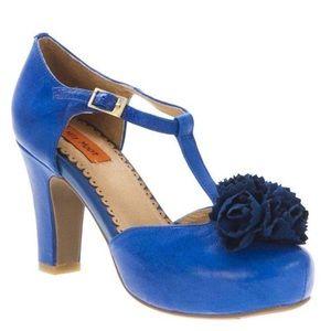 🔘 Miz Mooz Lacey T Strap Leather Blue Pumps 7.5